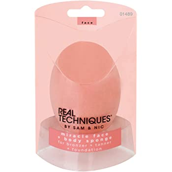 Real Techniques Cruelty Free Miracle Body Complexion Sponge, Ideal for Highlighters, Bronzers, & Body Makeup, for Streak Free, Precise Makeup Application