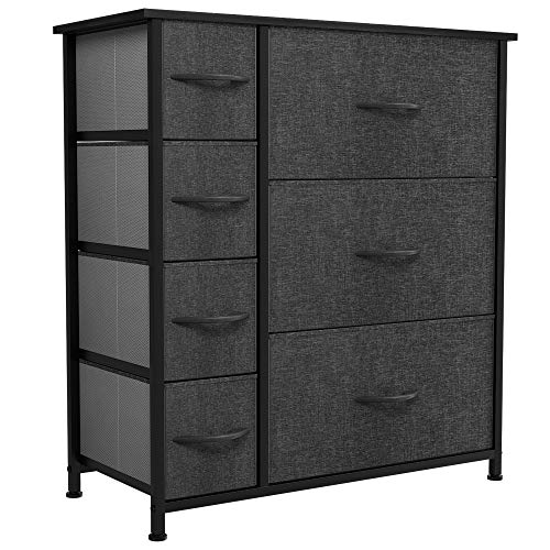 YITAHOME Chest of Drawers, Cationic Fabric 7-Drawer Storage Organizer Unit for Bedroom Living Room Closet, Sturdy Steel Frame, Easy Pull Fabric Bins & Wooden Top, Fabric Dresser