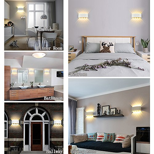 HYDONG LED Apliques de pared Modernos 8W Blanco Lámpara de pared Interior Exterior Impermeable Bañadores de Pared Aluminio Luz para Salón Dormitorio Baño Pasillo (Blanco Cálido)