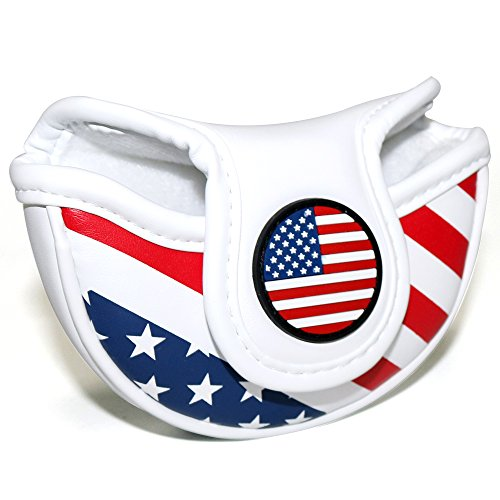 Craftsman Golf Stars and Stripes USA America Flag Mid Mallet Putter Cover Half-Mallet Headcover for Scotty Cameron Odyssey Taylormade Rossa Midsize Putter (for a Heel/Offset-Shafted Putter)