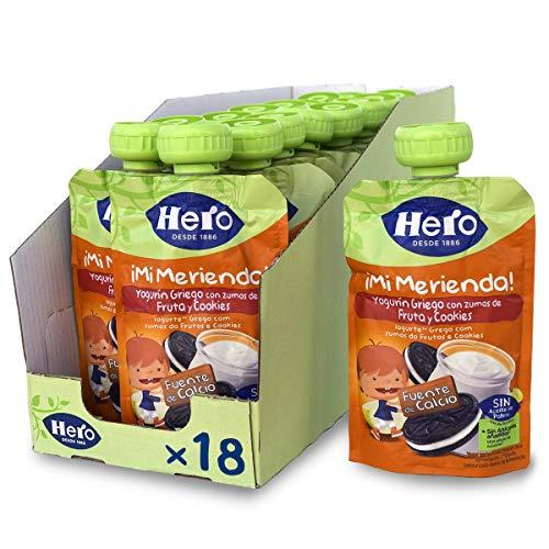 Hero Baby Mi Merienda - Bolsita de Yogurín Griego con Zumos de Fruta y Cookies, Sin Azúcares Añadidos, para Bebés a Partir de los 12 Meses - Pack de 18 x 100 g