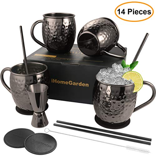 Moscow Mule Mugs Set of 4 - Food Safe 100% Handcrafted Mule Mugs Pure Solid Hammered Black Stainless Steel Mug...