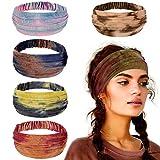 Lot de 5 Bandeaux Cheveux Tie-dye Femme Vintage au Style Bohême Rétro...