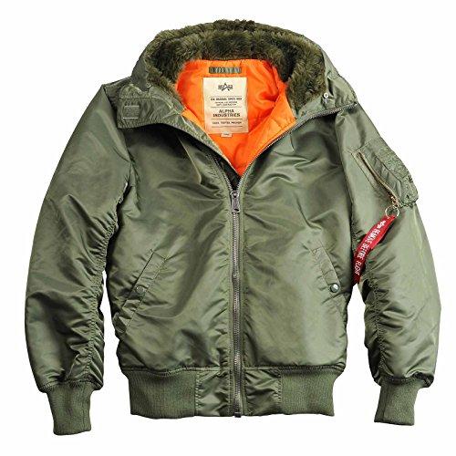 ALPHA INDUSTRIES MA-1 Hooded w/o Fur,Flight Jacket,Kapuzen-Bomberjacke, Größe:XL, Farbe:sage Green