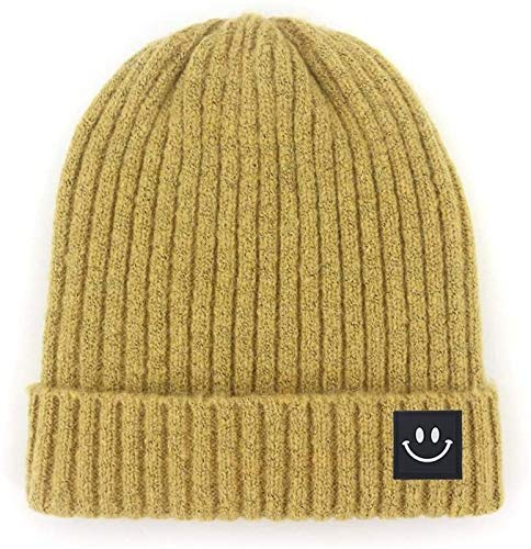 XXY Heat Holders Wool Cap Ardent Headgear Precious Smiley Label Threaded Knit Hat Modeling (Color : Turmeric, Size : M56-58cm)