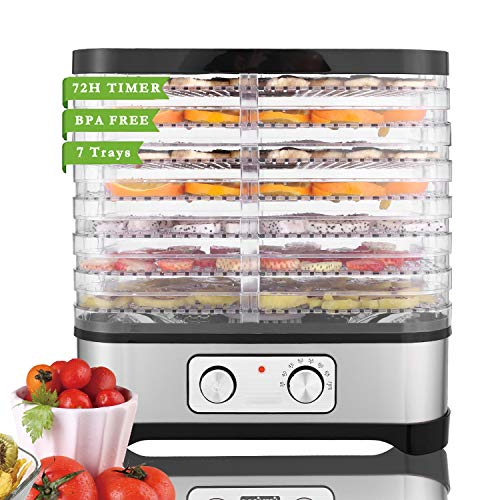 Food Dehydrator 7 Trays Dryer Food Dehydrator Machine for Jerky Meat Fruit Vegetable Beef, BPA Free, Temperature Control 250W (Silver)