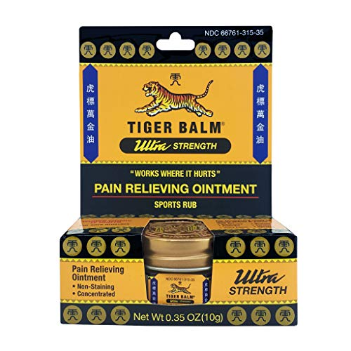Tiger Balm Pain Relieving Ultra Strength, 10g – Soothing Ointment – Ultra Strength Muscle Rub – Tiger Balm Ointment – Non-Staining Sports Muscle Rub