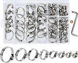 80 Pezzi Fascette Metalliche, Fascette Stringitubo regolabili Inox con Chiave per Tubi Cavi Rubinetti - 8 mm a 44 mm