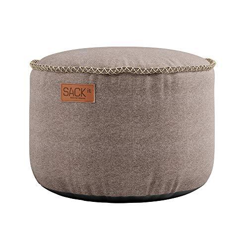 SACKit – RETROit Canvas Drum Sand – Runder Indoor hocker – Perfekt für das Wohnzimmer – Kombinieren Sie den Sitzhocker mit einem Sitzsack – Dänisches Design - Sitzhocker Fußhocker