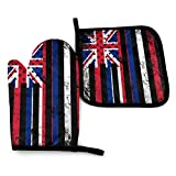 Fuyon Ua Hawaii Mixture Flag USA Kentucky Mixture Flag Oven Mitts and Potholders BBQ Gloves-Oven Mitts and Pot Holders Cooking Gloves for Kitchen Cooking Baking Grilling Set of 2