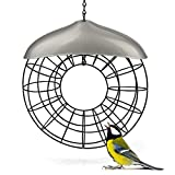 WILDLIFE FRIEND | Meisenknödel Futtering silbern - Meisenknödelhalter Metall, Futtersäule für Vögel zum Aufhängen mit Edelstahlgitter – ökologische Vogelfütterung ohne Netz