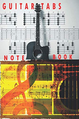 Guitar Tabs Notebook: 6x9 guitar tabs notebook electric guitars acoustic guitars guitars   tab music sheet chord shapes Themed notebook, 120 Blank ... interior with White color paper matt finish