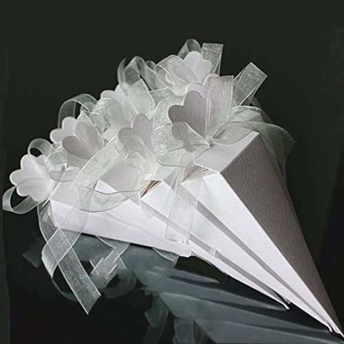 Sumshy 100 PZ Bianco Coni Portaconfetti Confettata per Matrimonio, Cono portariso, Scatola scatolina bomboniere segnaposto per Matrimonio, compleann, Battesimo, Comunione, Nascita, Laurea, Natale