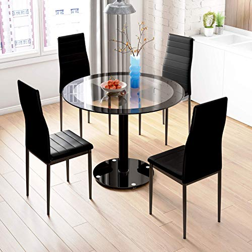 Black Dining Table and Chairs, Set of 4 High Back Chairs PU Leather, Round Tempered Glass, for Home, Dining, Balcony, Office Furniture
