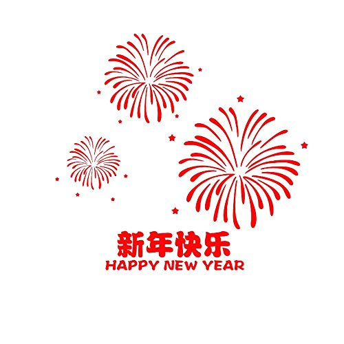 QAWSED Neujahrstag Frohes Neues Jahr-Malls Feuerwerk-Shop Wandaufkleber rot Aufkleber dekorative Glasfenster Aufkleber Einkaufen Fensterwandaufkleber (Size : S)