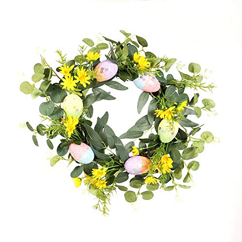N\W Easter Egg Wreath Front Door Spring Greenery Wreath 40cm Twig Frame Wreath with Pastel Eggs, Flowers for Home Party Window Wall Hanging Decor