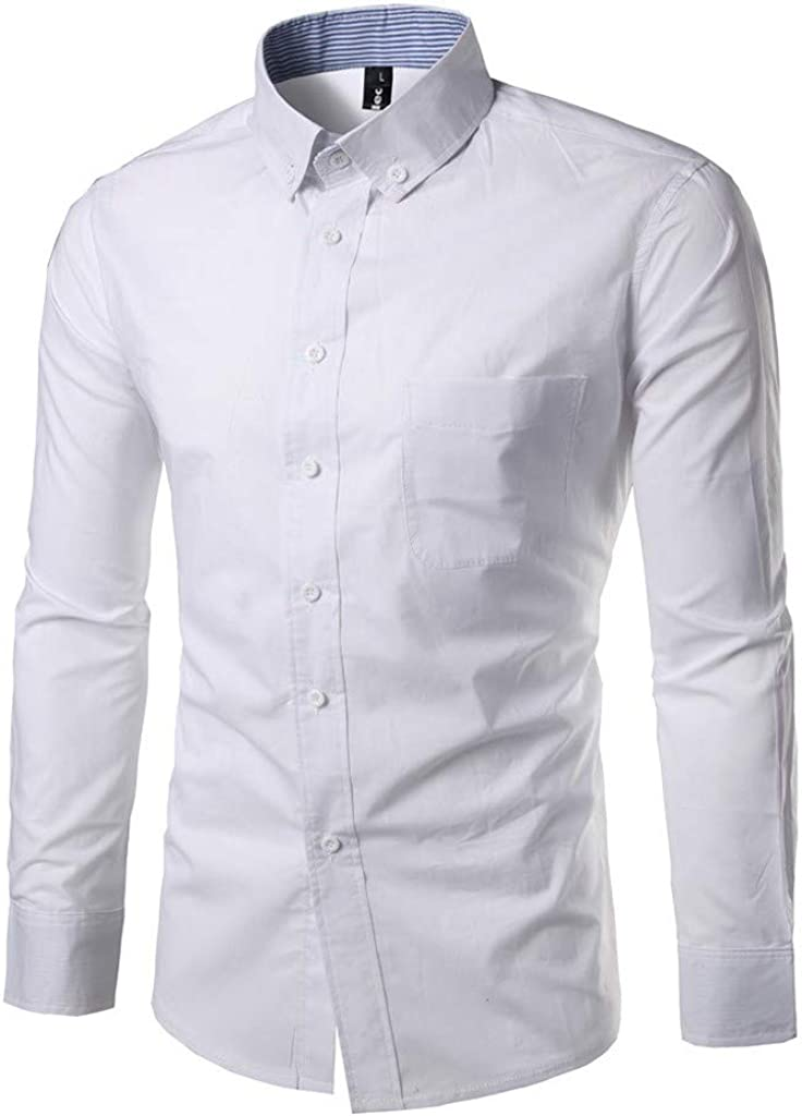 MODOQO Dress Shirt for Men-Casual Solid Color Button Turn-Down Collar Wrinkle-Free Shirt