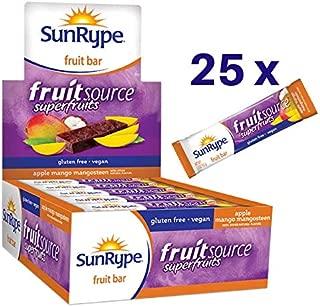 SunRype Natural Fruit Bar, Apple + Mango Mangsteen Fruitsource (Case of 25 Bars)