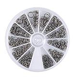 Remebe 500 piezas 6 diferentes tamaños de anillos de salto de acero inoxidable/anillo abierto 3 mm 4 mm 5 mm 6 mm 7 mm 8 mm Caja para hallazgos de fabricación de joyas de bricolaje