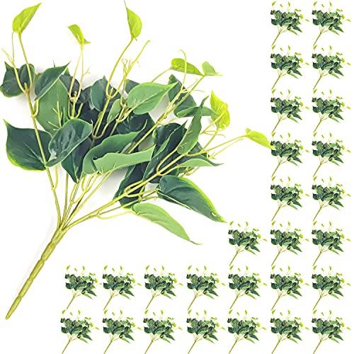 30 paquetes de flores artificiales de hojas falsas guirnalda decoraciones, plantas falsas, viñas decorativas para dormitorio, boda, fiesta, jardín, decoración del hogar (verde)