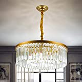 Panghuhu88 Crystal Chandelier Modern Contemporary Chandelier 2-Tier European Ceiling Pendant Lights for Dining Room Living Room Hotel, 9 E12 Bulbs Required (Dia21.6'' 2-Tier, Gold)