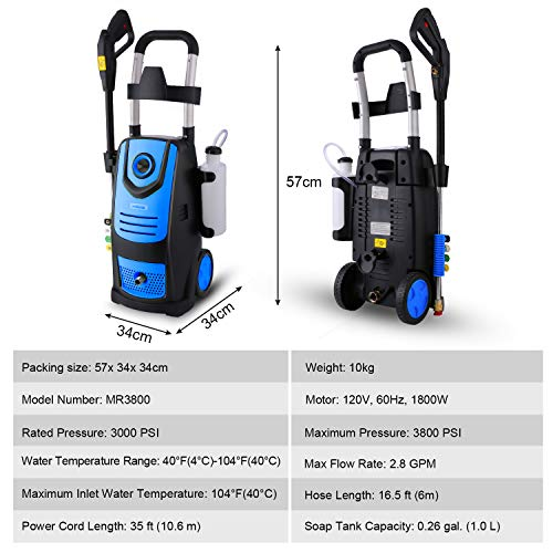 Suyncll 3800 PSI 2.8GPM Electric Pressure Washer, 1800W Electric Power Washer for Home Use with Hose, Gun, and 4 Adjustable Nozzle, Blue