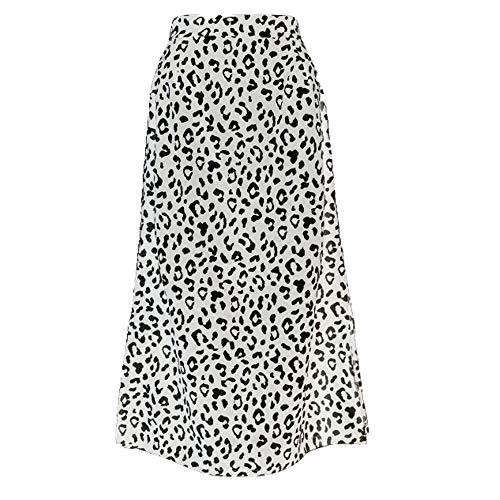 N\P Falda con estampado de leopardo de gasa, falda dividida, casual, falda larga para mujer, primavera verano, elegante disfraz de mujer