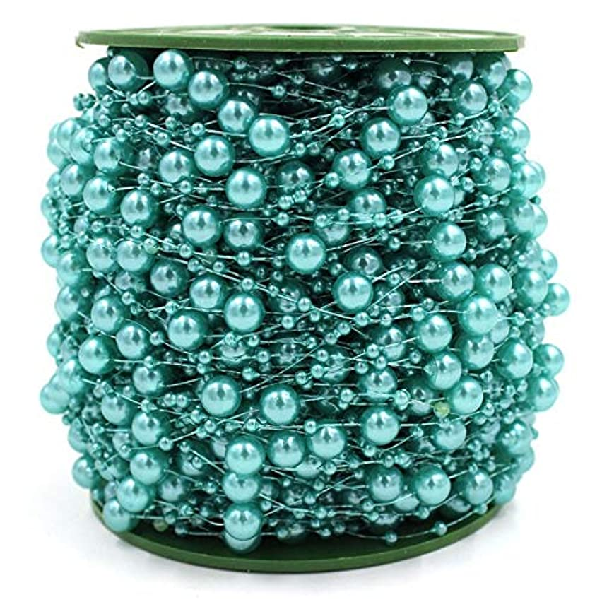 200 Feet Teal Blue Pearls String Beads Garland Fishing Line Artificial Pearls Strands Beads Trim Chain for Wedding Bridal Bouquet Craft DIY Table Centerpieces Christmas Tree Party Decoration