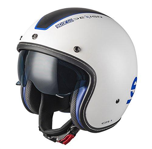 Sparco 0033403LBIAZ Cafe Racer Helme, Weiß, L