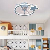 子供のベッドルームのための天井ファン 調光可能なサイレントLED天井ファンのライトとリモートコントロール 廊下の子供のラウンジのための現代的な天井のライト,ブルー