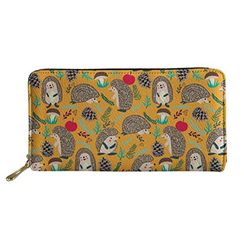 Cute Hedgehog Printed Women's Wallet with Zipper Purse Passport Card Pocket
