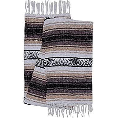 El Paso Designs Genuine Mexican Falsa Blanket - Yoga Studio Blanket, Colorful, Soft Woven Serape Imported from Mexico (Beige)