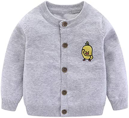 LittleSpring Baby Boy Knitted Cardigan with Cute Duckling Embroidery Gray 18 24 Months product image