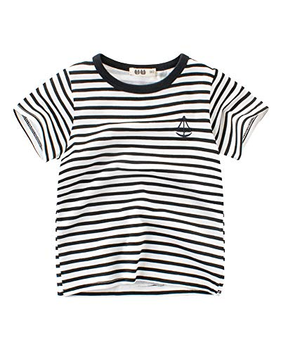 Niñas Niño Camiseta Manga Corta Redondo Cuello Patrón de Rayas Impreso Verano T-Shirt Tops