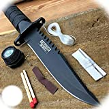 New 8.5' Inch Tactical Fishing Hunting Survival Pro Tactical Limited Knife W/ Sheath Bowie Survival Kit Combat Camping Outdoor B-0340A by ProTacticalUS