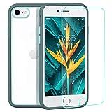 ZELAXY Funda Transparente para iPhone SE iPhone 7 iPhone 8 – Carcasa Trasera Bumper Antigolpes Arañazos– con Bordes de Silicona – no amarillea TPU PC + Protector de Pantalla– Gris