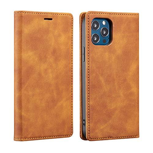 ZCDAYE Funda tipo cartera para iPhone 11, magnética de piel sintética de poliuretano termoplástico suave con ranuras para tarjetas, soporte para iPhone 11, color marrón