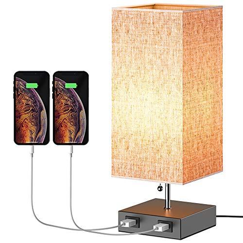 Henzin Lámpara de Noche,Lámpara de Mesa,E27, Beige Pantalla de Tela, Lámpara Escritorio Diseño Clasico Vintage con 2 puertos USB...