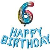 DIWULI número, XXL Globo Azul Colorido número 6 + Globo Azul Feliz Hoja de Globos Globos de cumpleaños Tarjetas ID Nº años, Globos de películas sexta Fiesta de cumpleaños, decoración, decoración