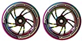 Team Dogz 120mm Scooter Wheel - Rainbow Swirl with Blue/Purple Tyre