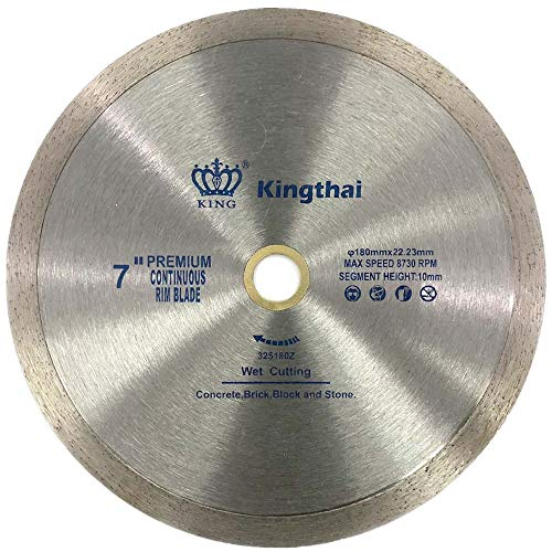 "Kingthai 7 Inch Continuous Rim Diamond Saw Blade for Cutting Porcelain Tiles Ceramic,Wet Cutting,7/8""-5/8"" Arbor"