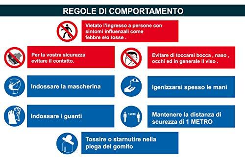 SALPIE Cartello Adesivo Segnaletica Covid 19 Regole di Sicurezza Comportamento per Interni ed Esterni 34x50 cm - 2 Pezzi