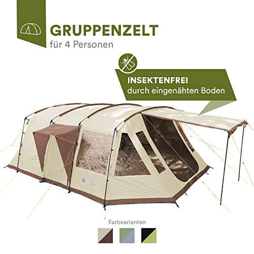 Skandika Nordland 4 Personen Familien/Tunnel Campingzelt, mit fest eingenähtem Zeltboden, 200 cm Stehhöhe, 5000 mm Wassersäule, Steilwänden (beige/braun)