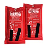 FYJENNICC Fiberglass Fire Blanket with Flame-retardant cotton tapes, 39.3×39.3 Inches, 2Pack