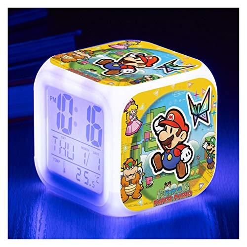 gzynyl Despertador Super Figure Toys Mario Figurine LED LED Reloj de Alarma Luz para niños Niños Regalo de cumpleaños Juguetes Muñecas (Color : 6)