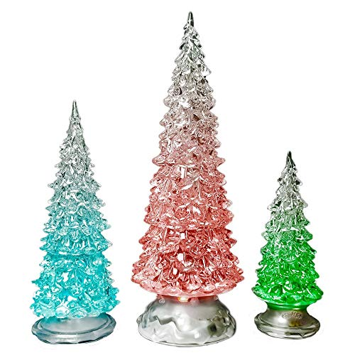 BANBERRY DESIGNS Table Top Christmas Trees - Set of 3 - LED Lighted Acrylic Christmas Trees Holiday Decoration Set of 3 Assorted Sizes 10', 7.5' & 5.5' H