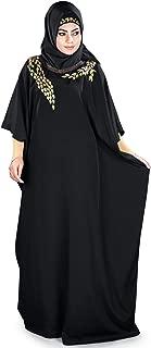 MyBatua Womens Kaftan Gold Embroidered Fancy Abaya Evening Gown Free Size Maxi Dress KF-023