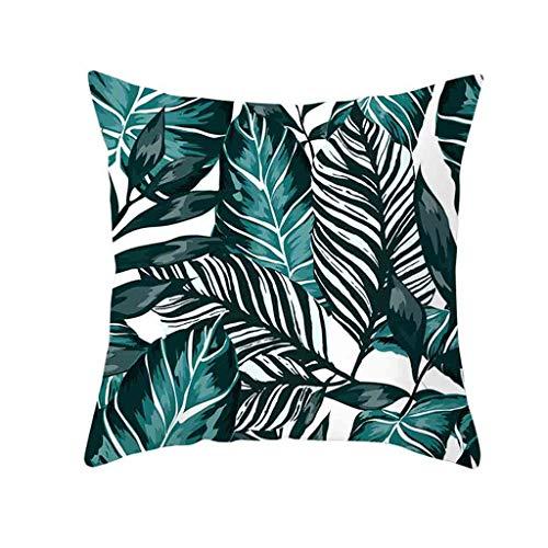 Xmiral Kissenhüllen Grün Pflanze Gedruckte Quadratischer Zierkissenbezüge 45cm x 45cm mit Versteckter Reißverschluss Kissenbezüge(BB)