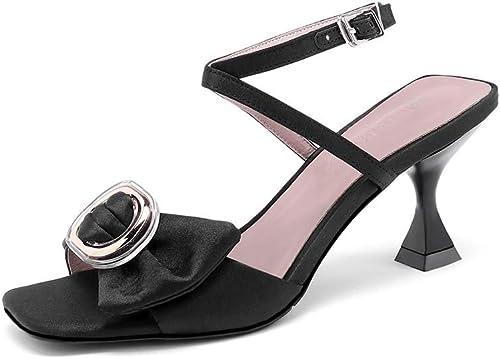 XLY Sandalias de tacón Elegantes del Partido de Tarde de los Talones Bajos de la Correa Abierta del Tobillo del Dedo del pie de Las damenes,36