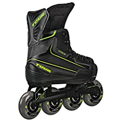 Code 9 youth skate has adjustable sizing with reinforced composite and ankle support Deluxe EVA comfort padding Bevo silver-5 race rated (chrome) bearings Tour force speed Formula control Series wheels Tour aluminum power track tri-coil system